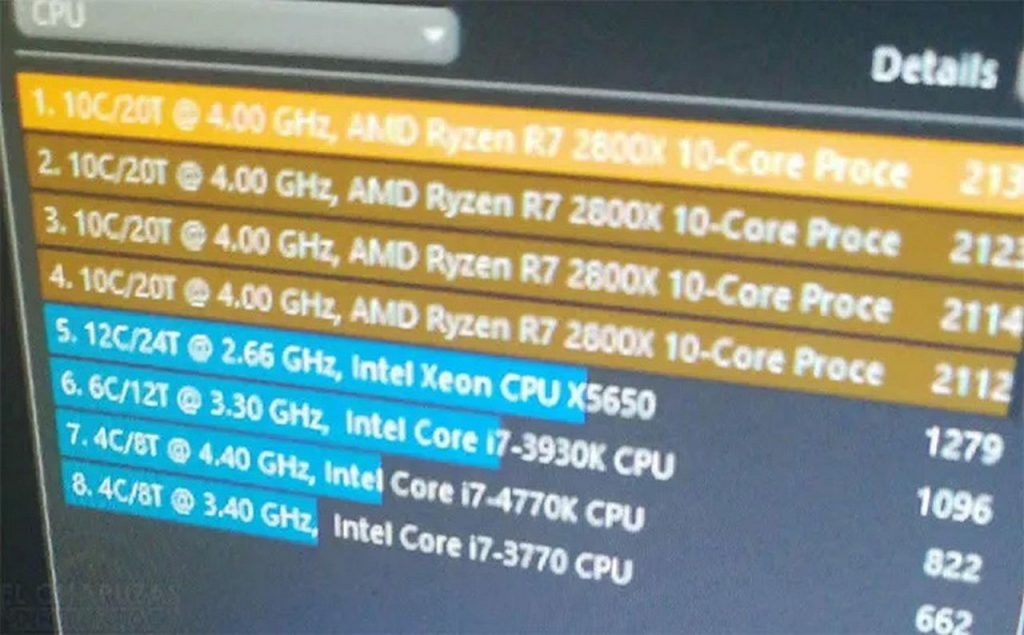 AMD plans to re-approach Ryzen 7 2800X 10C20T multi-core running